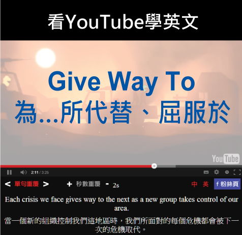 「為...所代替、屈服於」- Give Way To