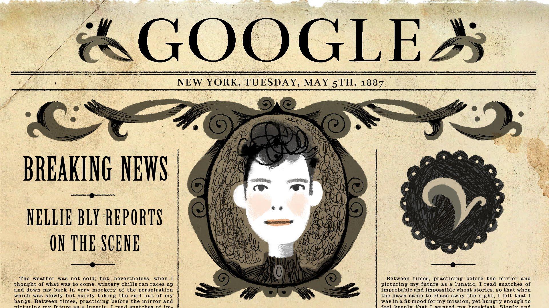 「跟著 Google 一起和 Nellie Bly 遊世界」- Nellie Bly's 151st Birthday Google Doodle