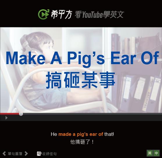 「搞砸某事」- Make A Pig's Ear Of