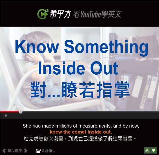 「對...瞭若指掌」- Know Something Inside Out