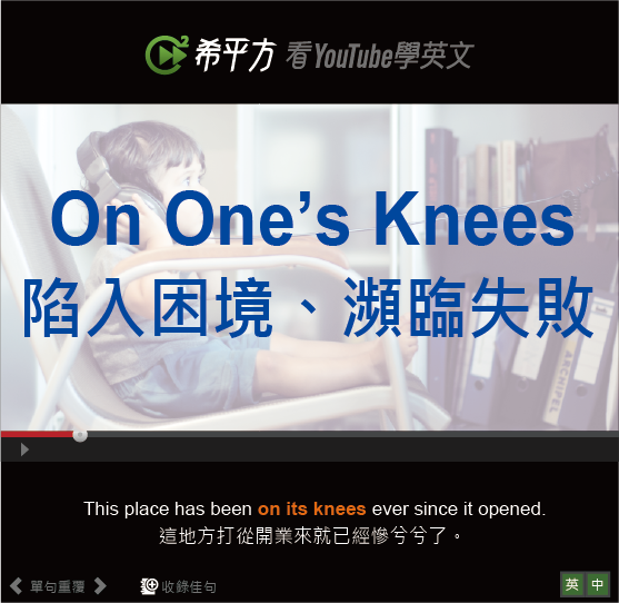 「陷入困境、瀕臨失敗」- On One's Knees