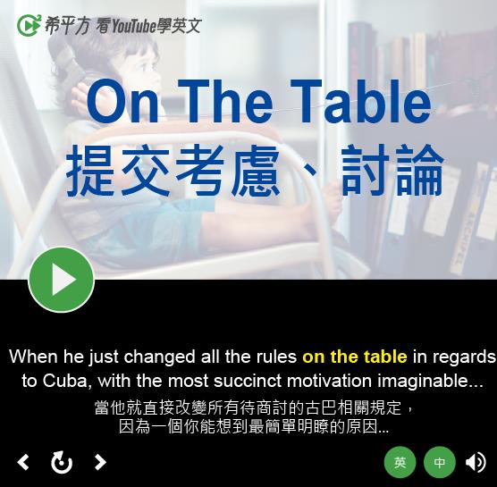 「提交考慮、討論」- On The Table