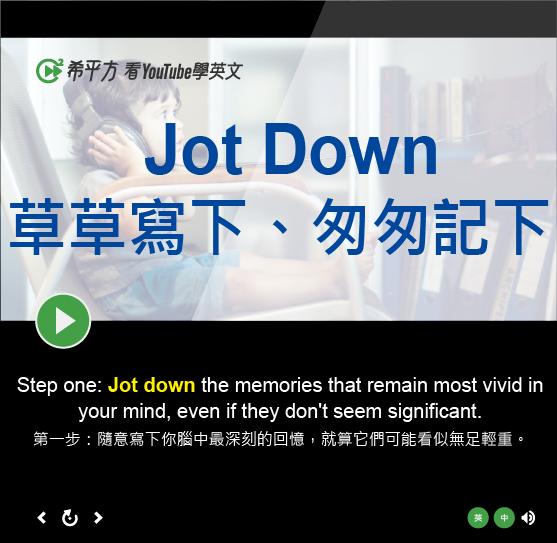 「草草寫下、匆匆記下」- Jot Down