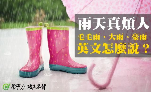 毛毛雨、豪雨英文怎麼說?這篇教你如何表達雨勢!