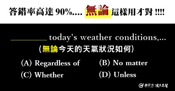 【多益高分達人】答錯率高達 90%...無論」No matter 英文這樣用才對!