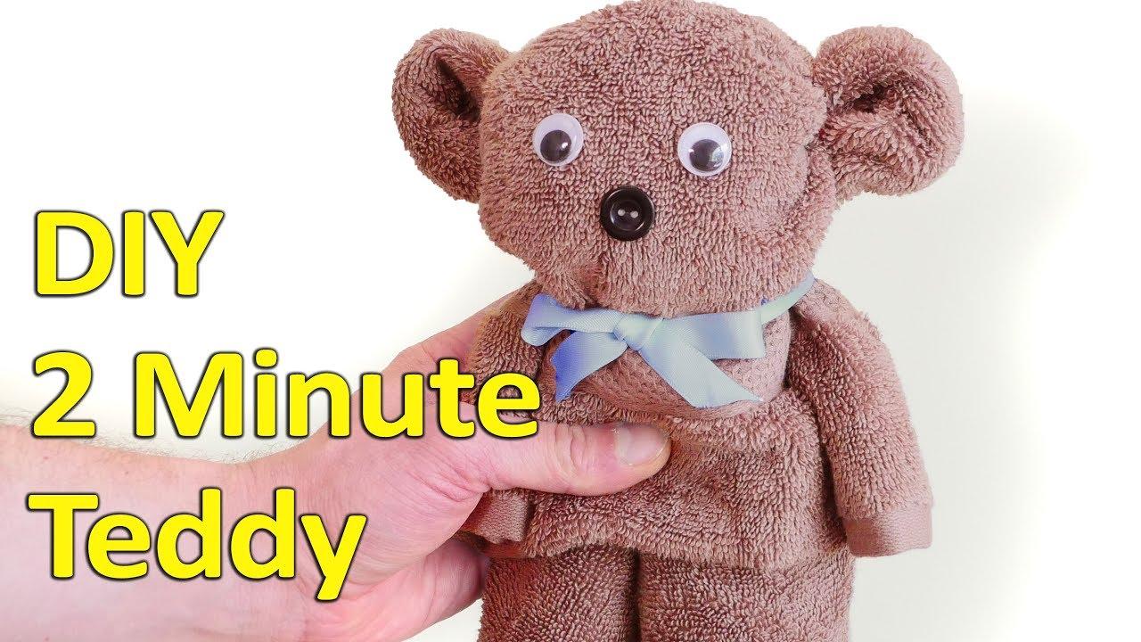 「【動動手玩創意】只要兩分鐘,用毛巾摺出超可愛泰迪熊」- Two-Minute DIY Teddy Bear