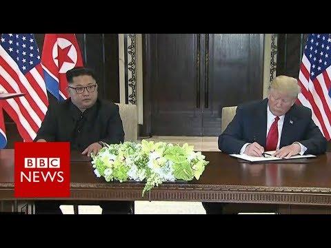 金川會世紀之握,兩方簽署歷史性文件