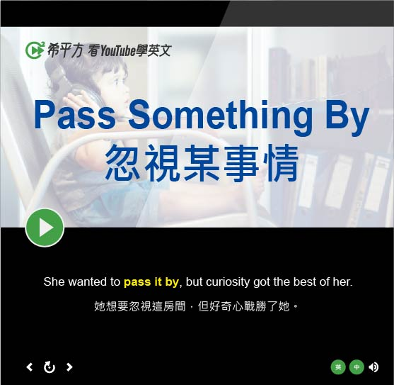 「忽視某事情」- Pass Something By