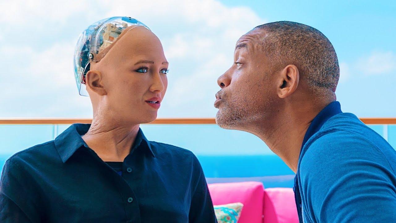 威爾史密斯和機器人 Sophia 的甜蜜約會