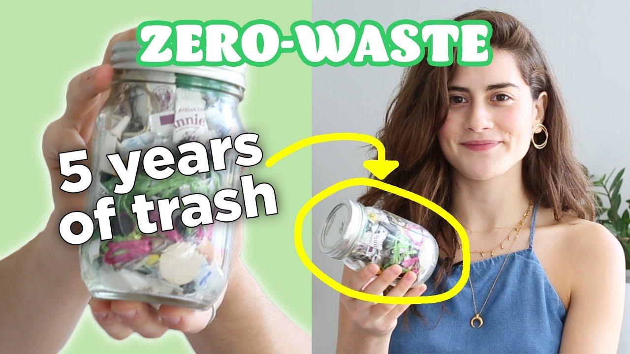 這個女孩把五年內產生的垃圾都裝進這個罐子裡了!